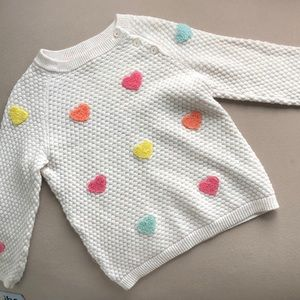 H & M sweater in cream with hearts, 1.5-2Y.